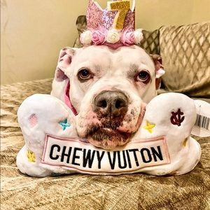 XL- White Chewy Vuiton Bone Dog Toy